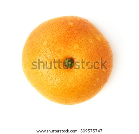 Fresh juicy ripe grapefruit covered with the multiple water drops, isolated over the white background, top view - stock photo