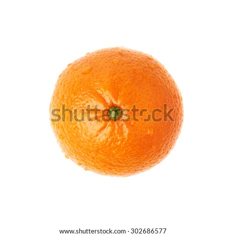 Fresh juicy tangerine ripe fruit covered with the multiple water drops, isolated over the white background, top view - stock photo