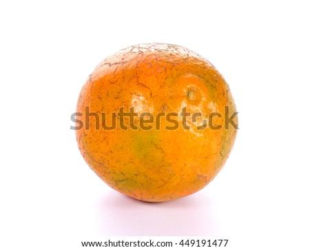 Fresh juicy tangerines ripe fruits on white background - stock photo