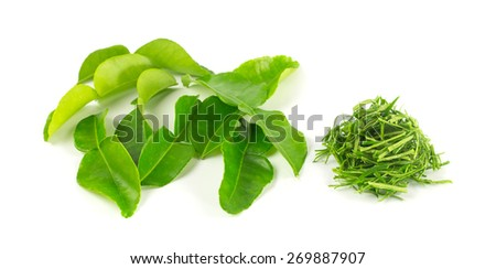 Fresh kaffir leaf  and heap of slice leave on white background - stock photo