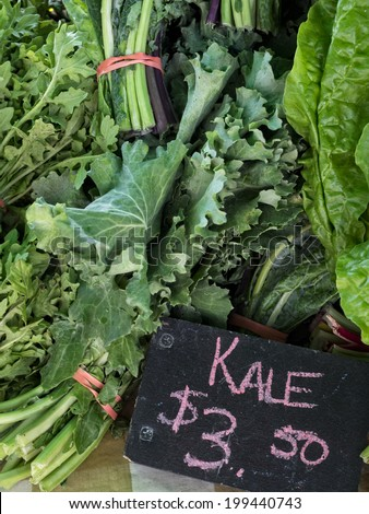 Fresh Kale for sale at local farmers market. - stock photo