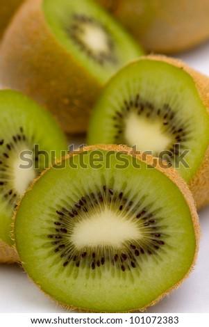Fresh kiwi fruit isolated on white - stock photo