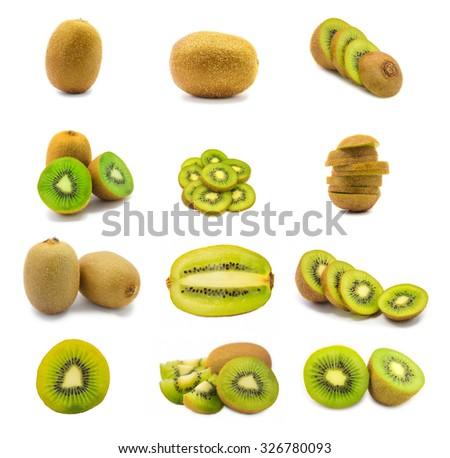 Fresh kiwi fruit slice collection set isolated on white background - stock photo