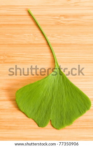 Fresh Leaves Ginkgo On The Wood Background - stock photo