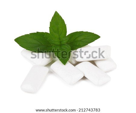 Fresh leaves mint with chewing gum isolated on white background - stock photo