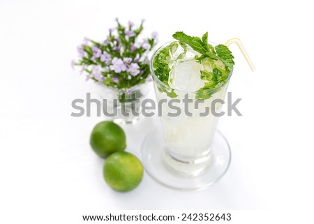 Fresh lemon and mint juice (focus on upper part of glass, rest blurred) - stock photo