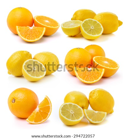 Fresh lemon and Orange fruit on white background - stock photo