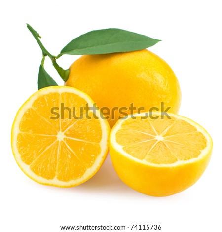 Fresh lemon citrus isolated on white background - stock photo