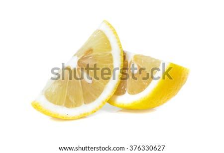 Fresh lemon isolated on white - stock photo