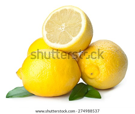 Fresh lemon isolated on white background. - stock photo