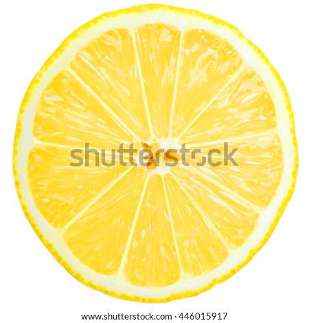 fresh lemon slice over white - stock photo