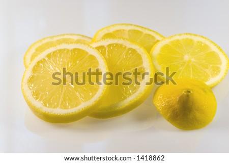 fresh lemon slices - stock photo