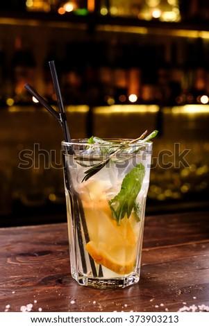 Fresh lemonade with mint and ice - stock photo