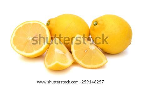 fresh lemons and slices isolated on white  - stock photo
