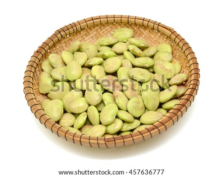 fresh lima beans in basket isolated on white background - stock photo