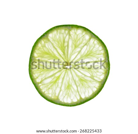 Fresh lime and slice, Isolated on white background - stock photo