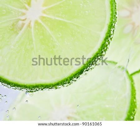 Fresh lime and soda water - stock photo