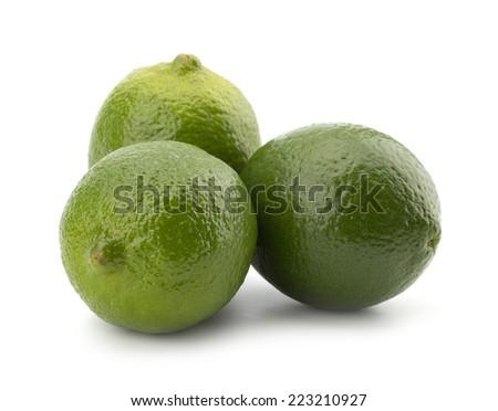 Fresh lime fruit isolated on white background - stock photo