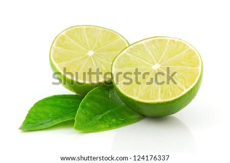 Fresh Lime isolated on white background - stock photo