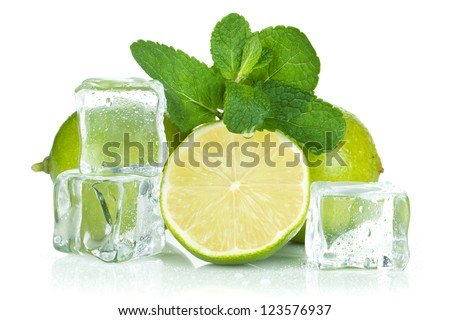 Fresh lime, mint and ice cubes. Isolated on white background - stock photo