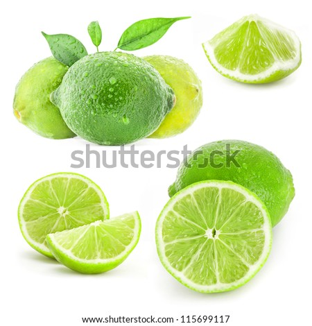 Fresh lime with leaves, Isolated on white background - stock photo