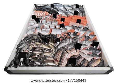 fresh live fish on ice on open market - stock photo