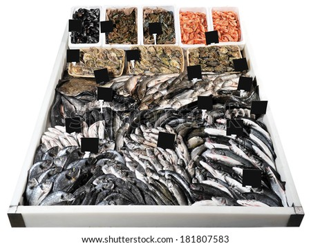 fresh live fish on ice on open market - stock photo