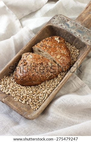 Fresh  loaf of bread , rustic style - stock photo