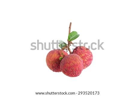 Fresh lychee (Litchi) isolated on white background - stock photo