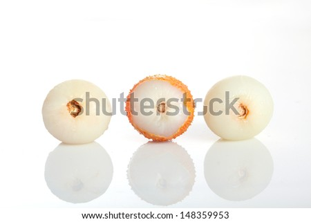 Fresh lychees isolated on white  - stock photo