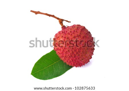 Fresh lychees with leaves isolated on white background - stock photo