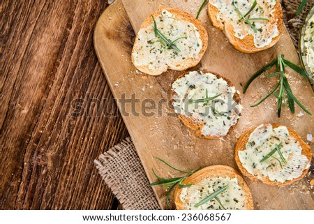 Fresh made Herb Butter Baguettes with garlic - stock photo