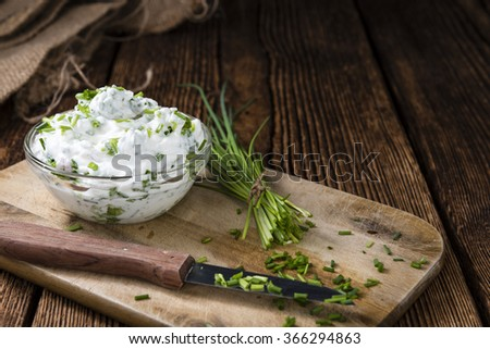 Fresh made Herb Curd (close-up shot) on vintage background - stock photo