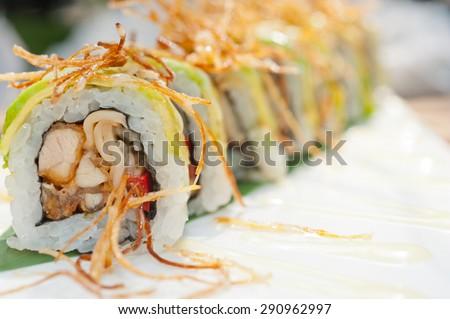 fresh made Japanese sushi rolls called Maki Sushi  - stock photo