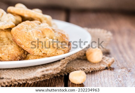 Fresh made Macadamia Cookies (with white chocolate) - stock photo