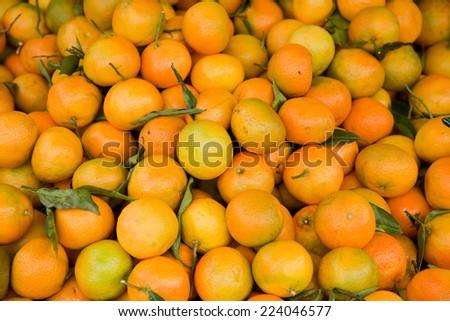 fresh manderines. - stock photo
