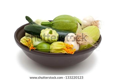 fresh marrow isolated on white background - stock photo