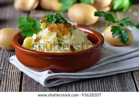 Fresh mashed potatoes - stock photo
