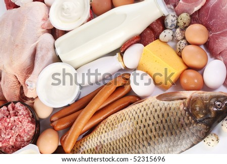 Fresh meat and dairy products. - stock photo