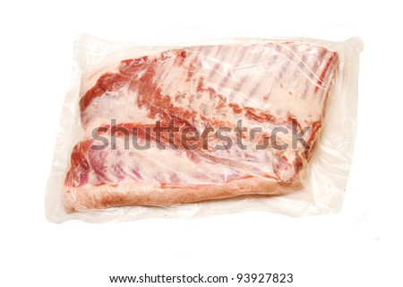 Fresh meat Breast with bone in vacuum packed - stock photo