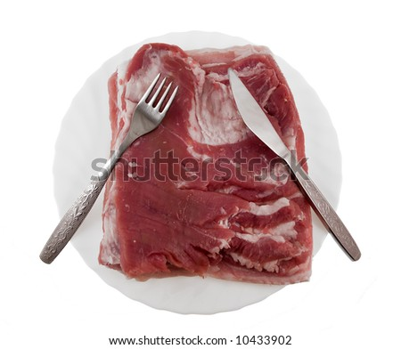 Fresh meat on a plate - stock photo