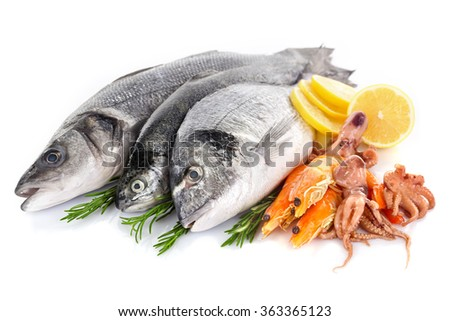 Fresh Mediterranean cocktail of fish on white background, close up - stock photo