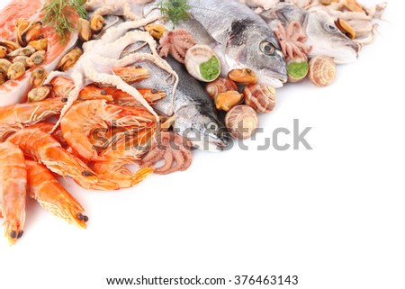 Fresh Mediterranean fish cocktail on white background, close up - stock photo