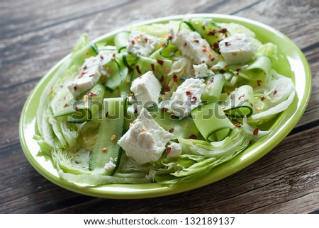 Fresh Mediterranean salad close-up with shallow depth of field - stock photo