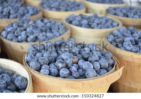 Fresh Michigan Blueberries for sale at a local Farmers Market - stock photo