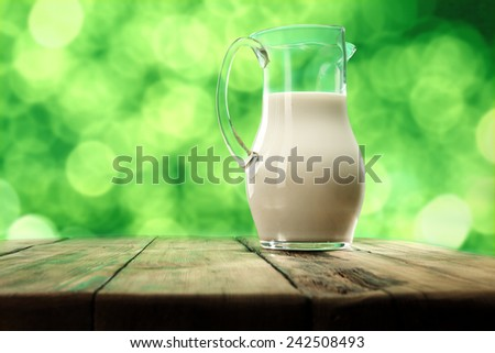 fresh milk and green background  - stock photo