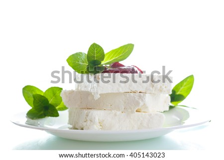 fresh milk cheese with jam - stock photo