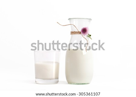 fresh Milk in jug, bottle and glass isolated on white - stock photo