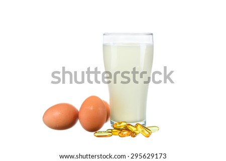 Fresh milk in the glass with egg and vitamin D on white background - stock photo