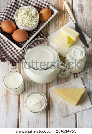 Fresh Milk products on  a wooden background.Top view - stock photo